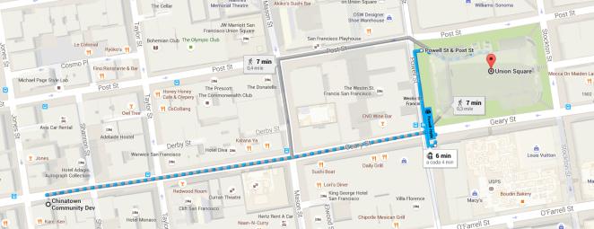 Distância da Union Square para Chinatown