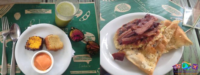Prato com doces e suco verde e prato com mini-pizzas e bacon (de outro viajante)